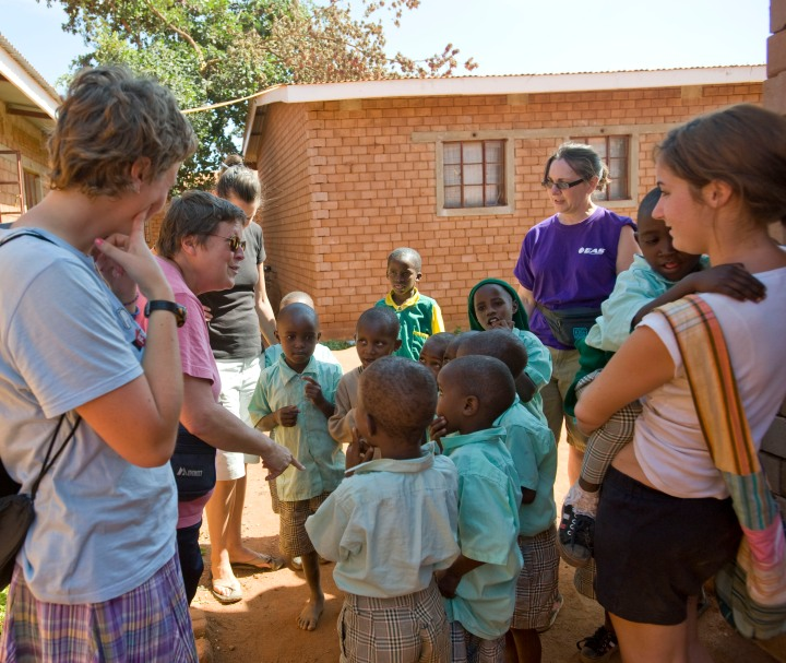 Gathering with the children at Nyumbani Village