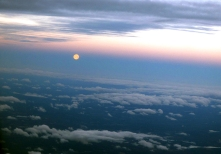 View of the moon from the early morning plane ride
