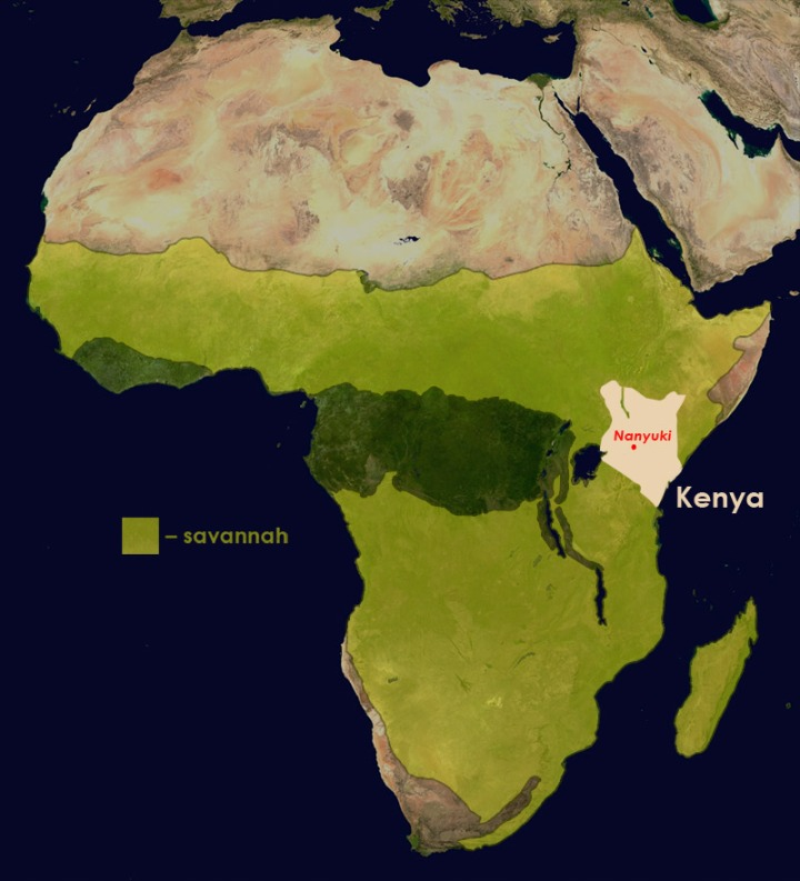 Location of Kenya in Africa