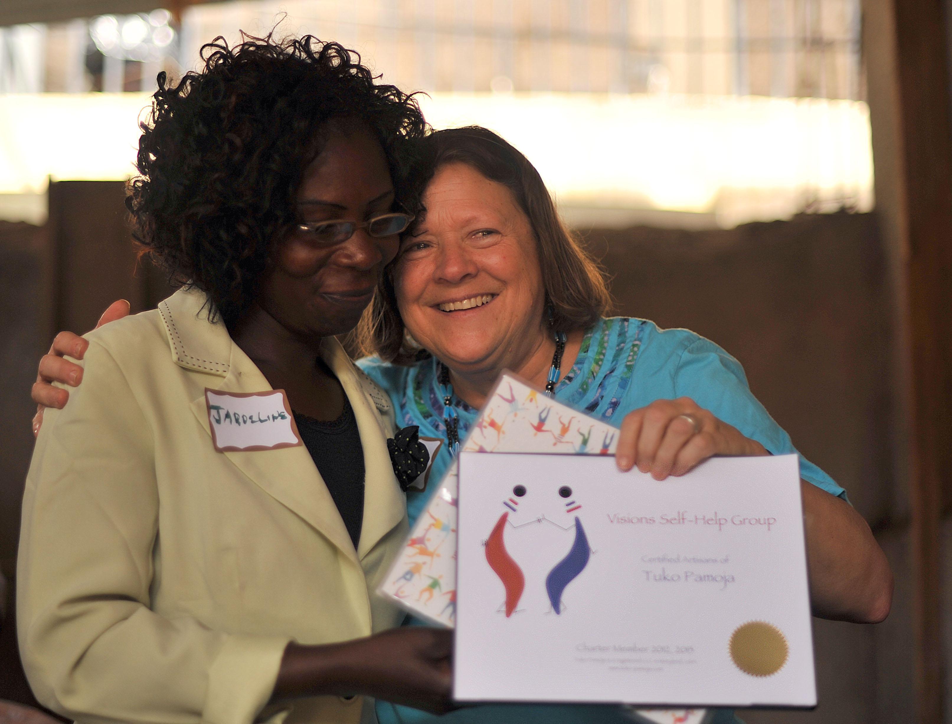 Tuko Pamoja certificate for the Vision Self help group