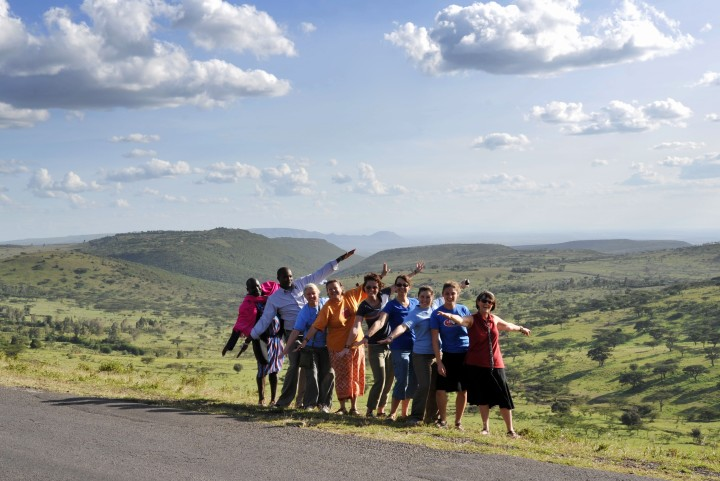 Our group getting our photo taken in front of the view of the Rift Valley