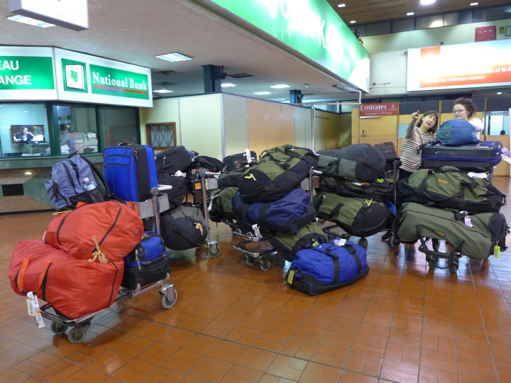 Our donation duffels gathered at Nairobi airport