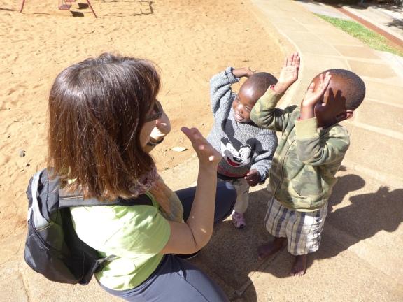 Deb with children at Nyumbani Children's Home