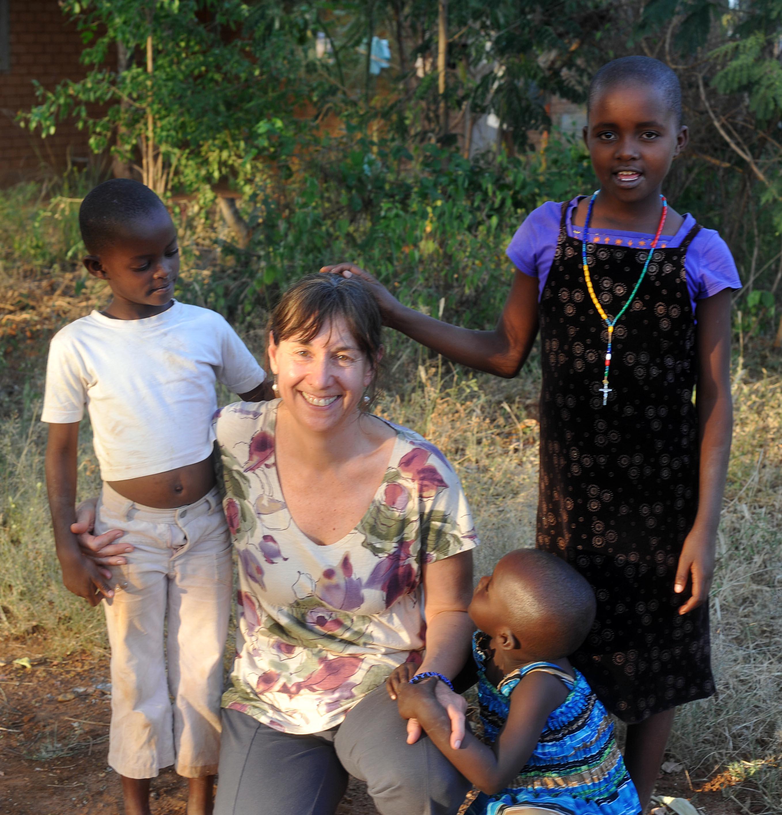 Deb with the neighbor children
