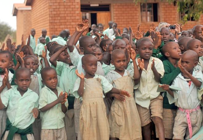 Nyumbani Village children in the school yard