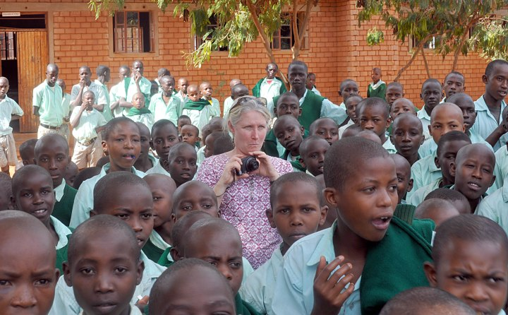 Karen in the crowd of Nyumbani children