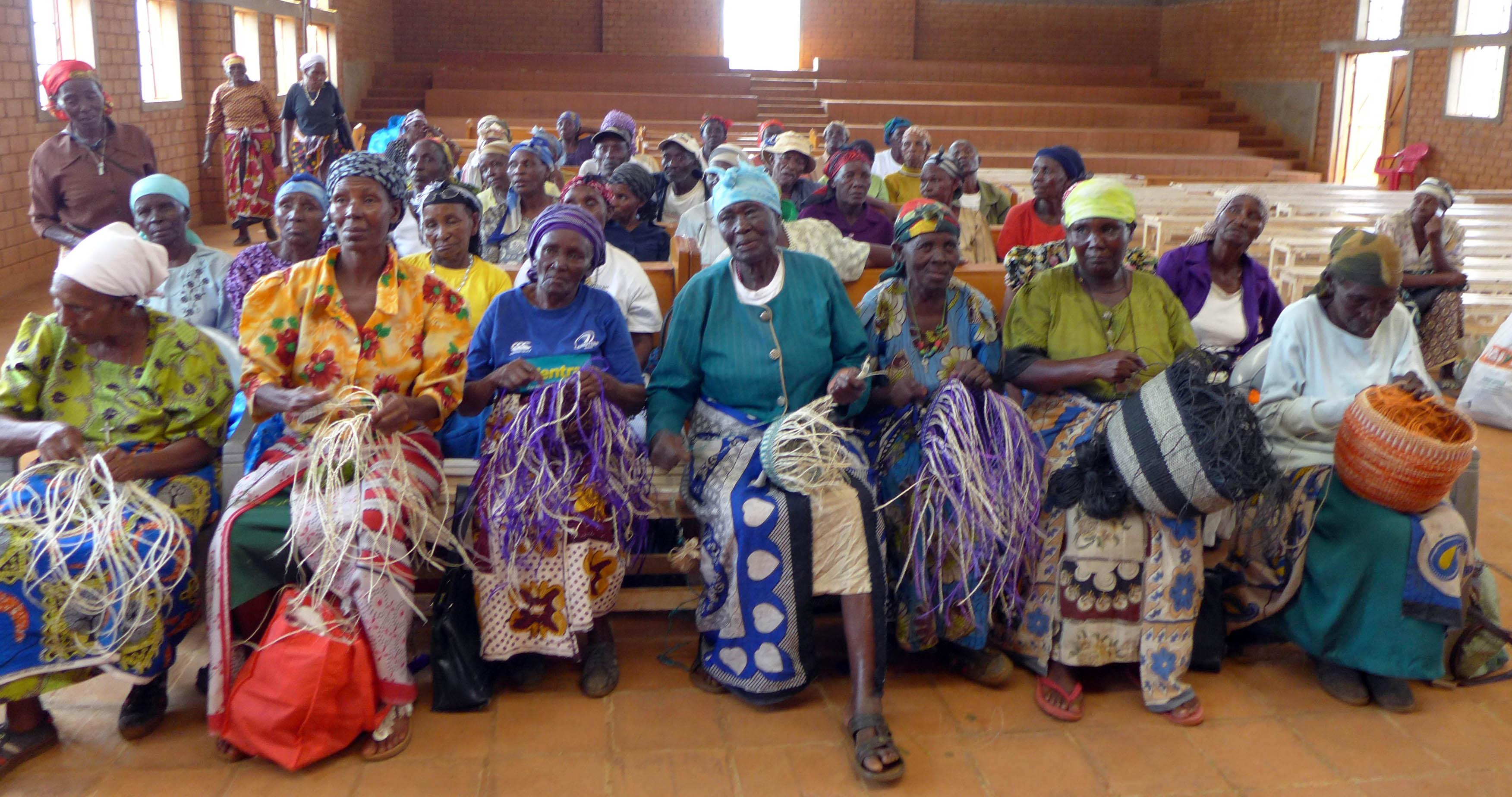 A row of basket weavers