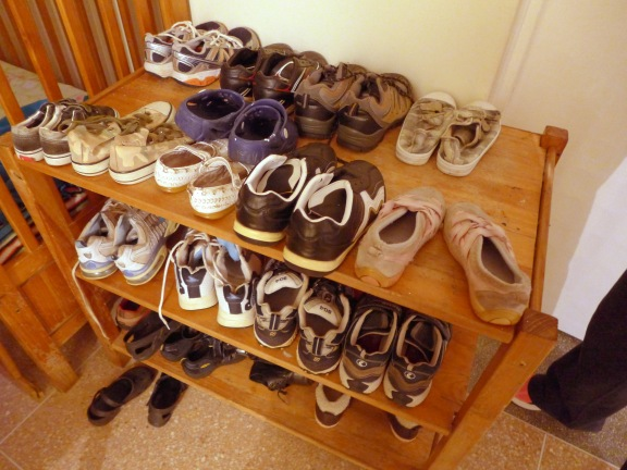 Kid's shoes of one household