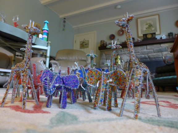 The herd of beaded animals in our inventory