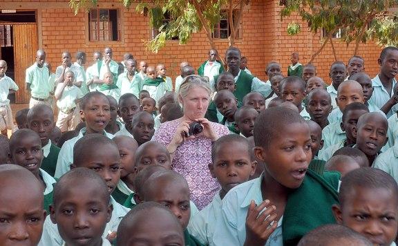 Karen--one mzungu in a sea of Nyumbani children