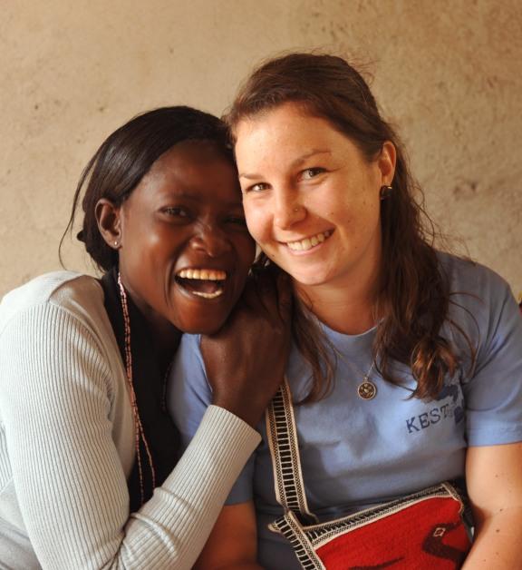 Jen and one of the women of Tuko Pamoja