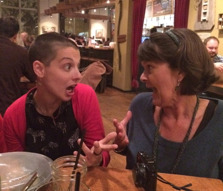 Spirited discussion with Kristen about getting to travel together again.