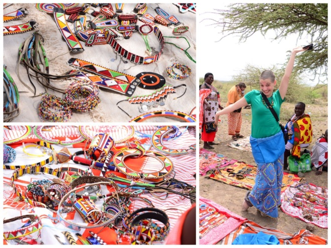 Samples of the MAasai women's work including Kristen modeling traditional wedding garb