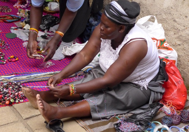 Beading with hands and feet